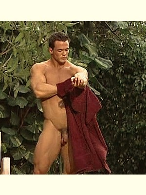 muscle man showering naked