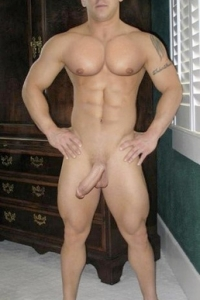Fit muscle guy naked with erected cock