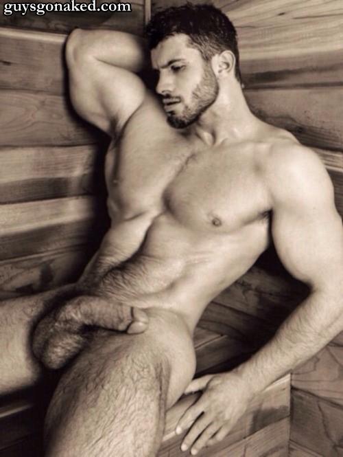 Hairy macho naked big cock