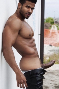 Latin muscle hunk erected cock
